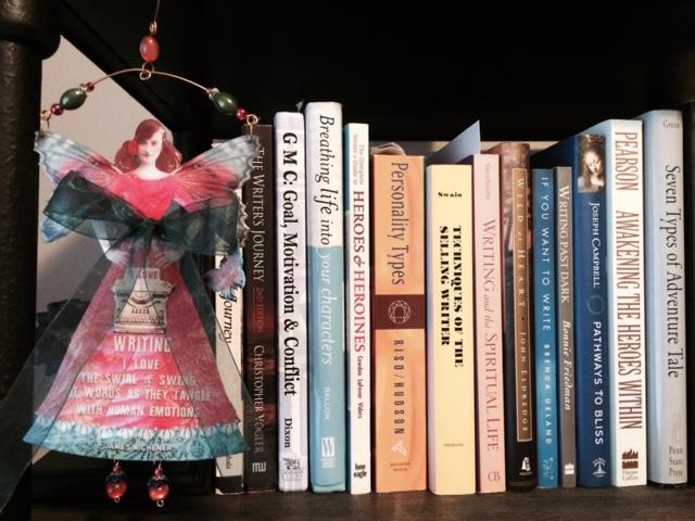 An author's bookshelf.