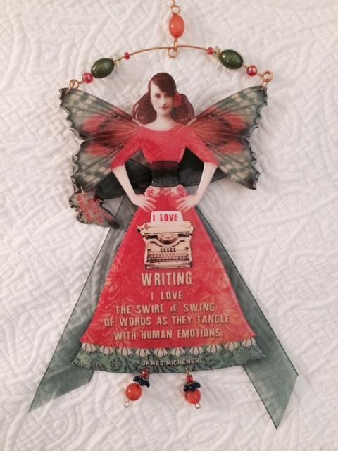 A writing angel.